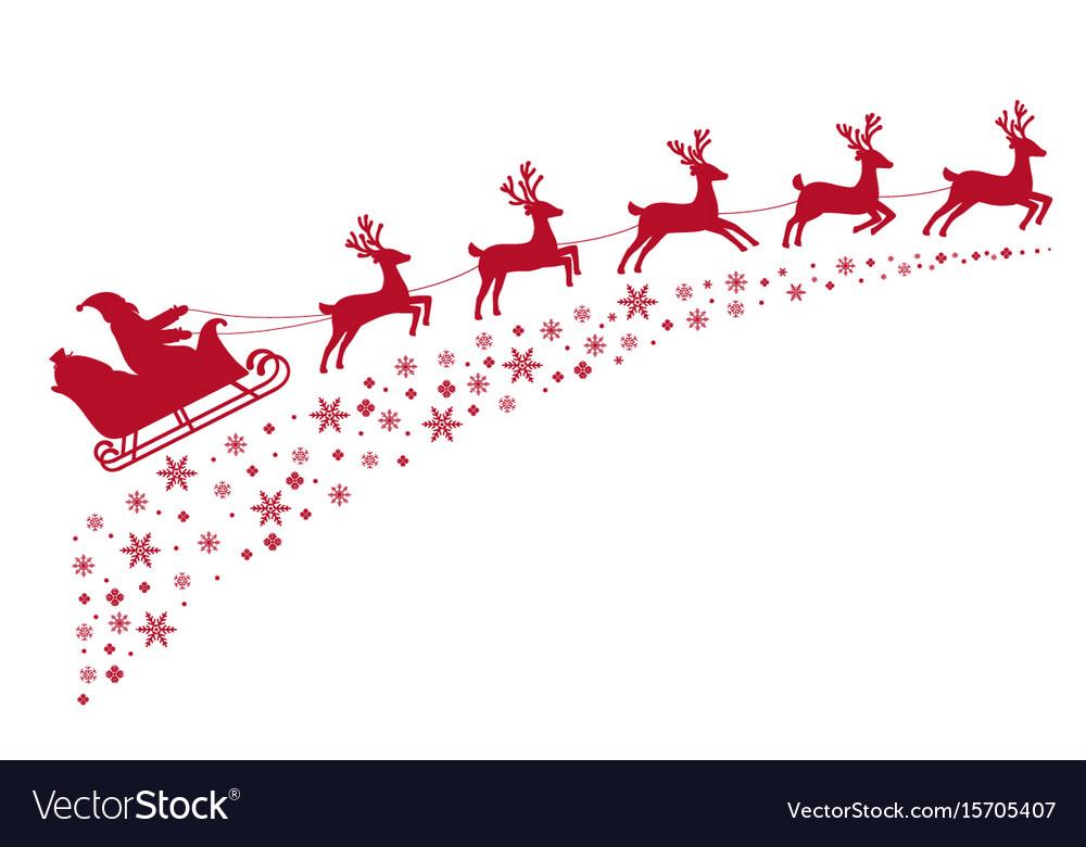 Santa sleigh reindeer flying on background.