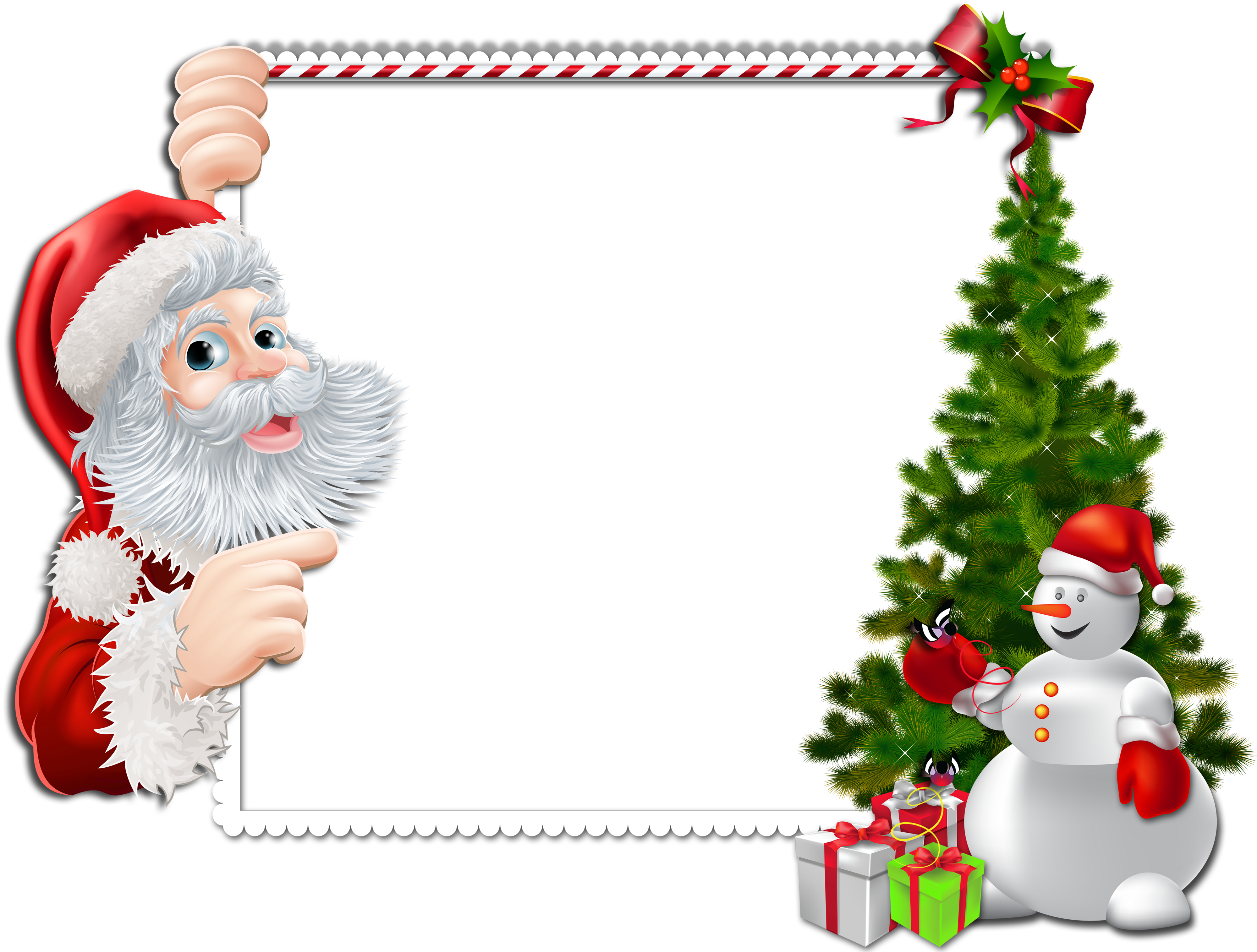Large Christmas PNG Frame with Santa and Snowman.