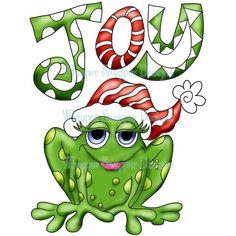 Christmas Frog Clipart.
