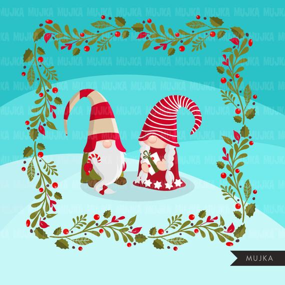 Christmas gnomes Clipart. Scandinavian Gnome graphics.