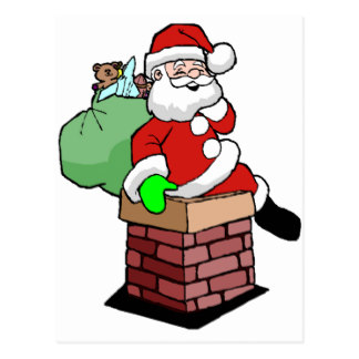 Santa Going Down The Chimney Postcards.