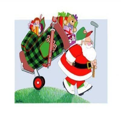 Santa Golfing Clipart.
