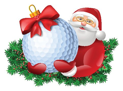 Santa with golf ball Clipart Image.