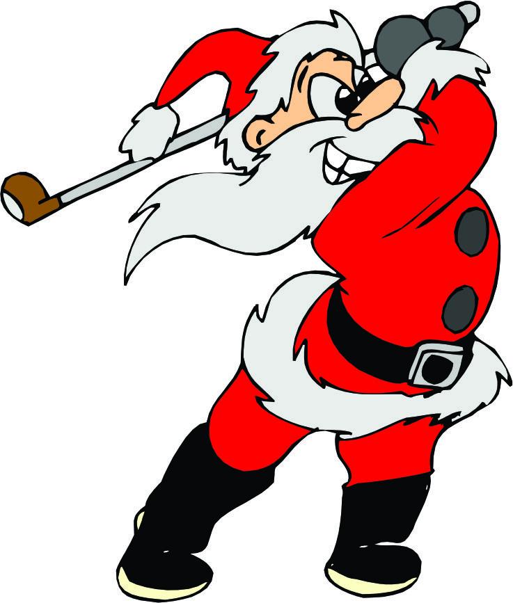 Santa Playing Golf Clipart.