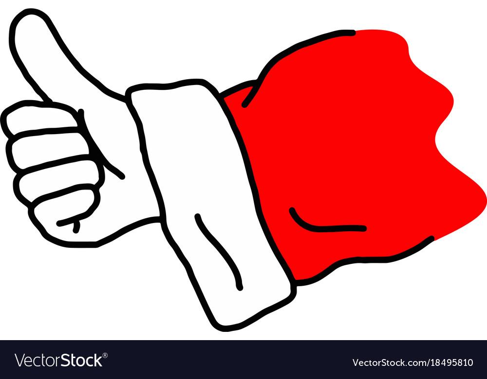 Hand of santa claus showing thumb up.