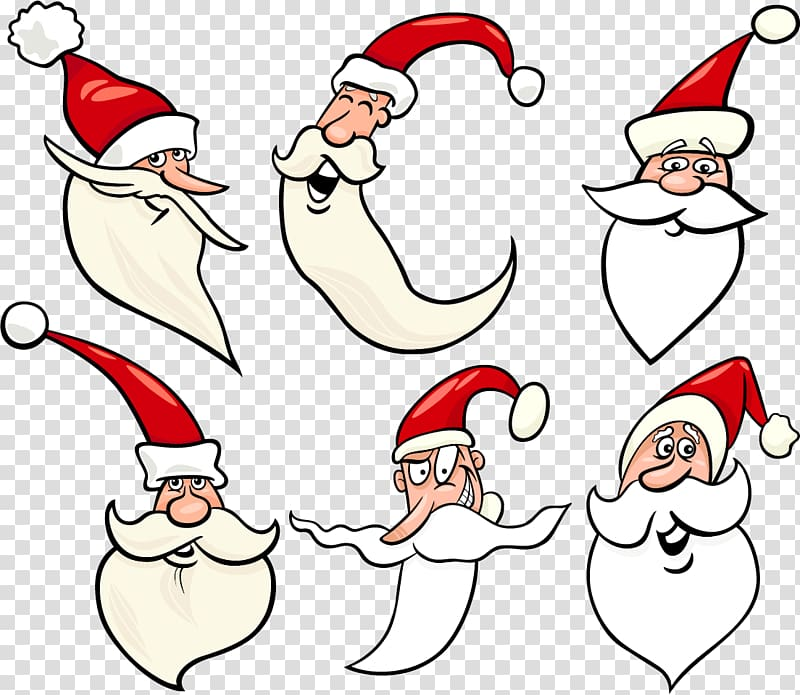 Santa Claus Cartoon Illustration, Hand.