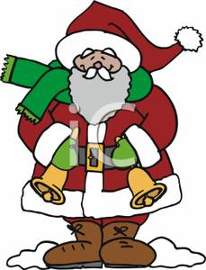 Santa Claus Holding Hand Bells.