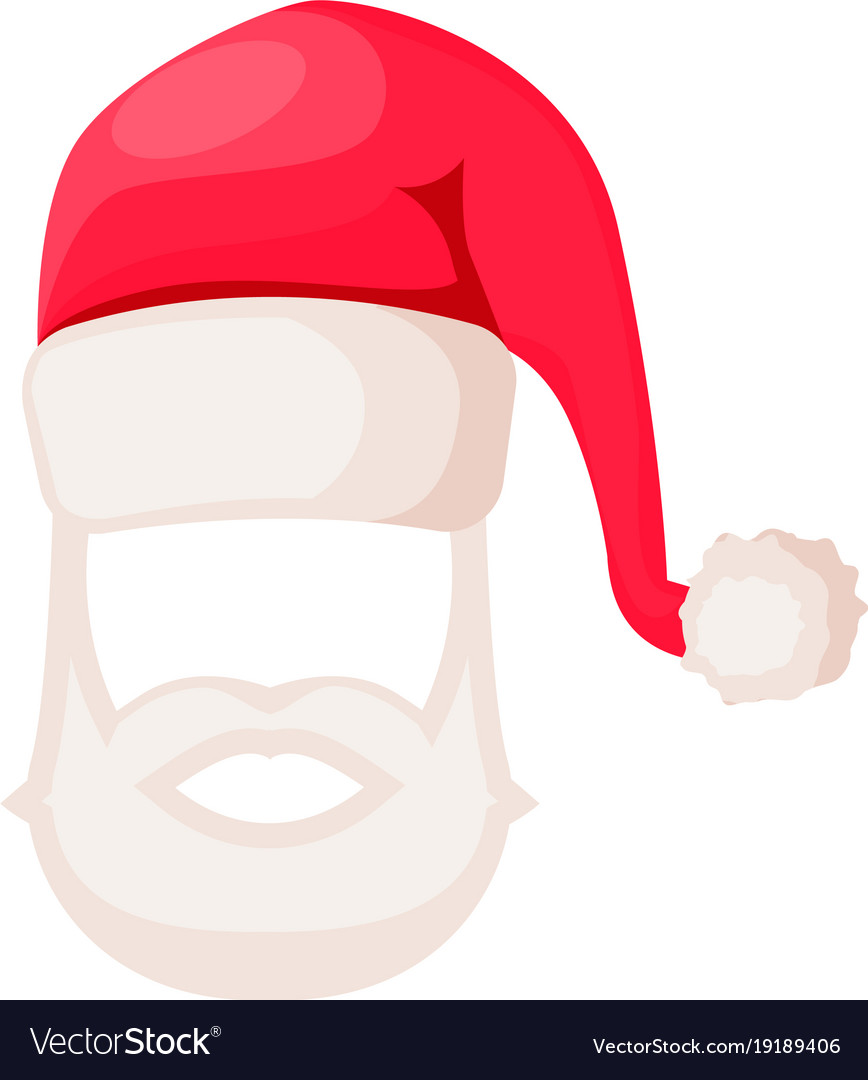 Santa claus hat with beard and moustaches isolated.