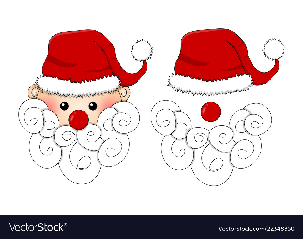 Santa claus santa hat red nose and white beard.