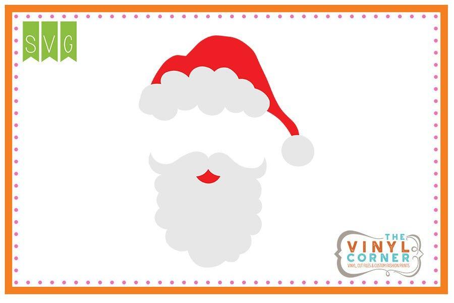 Santa Hat and Beard Blank SVG Clipart Design.