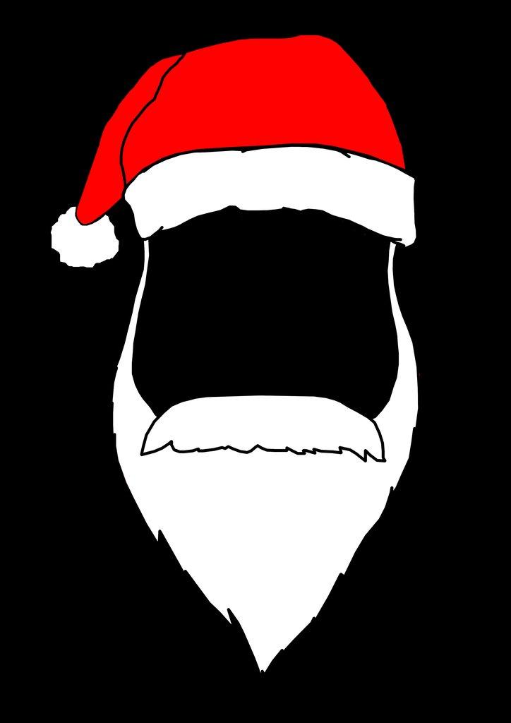 Santa Hat & Beard Graphic Tshirt Father Christmas Xmas Top Winter Clothing.