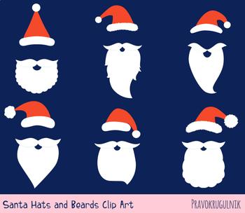 Santa hat and beard clipart, Mustache clip art Santa face mask Christmas  set red.