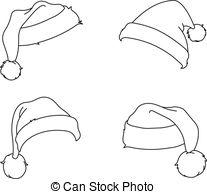 Vector Clip Art of Outlined Santa's Hat.