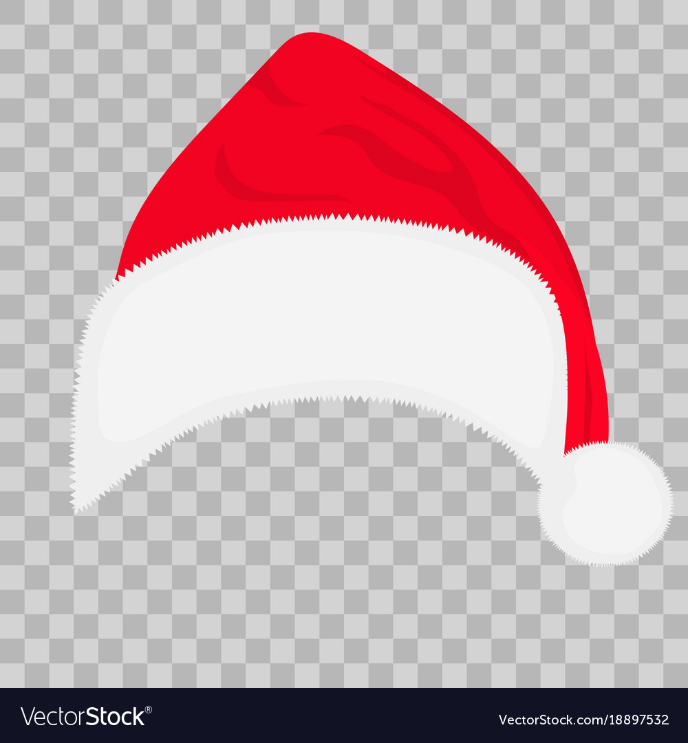 Santa hat on transparent background.