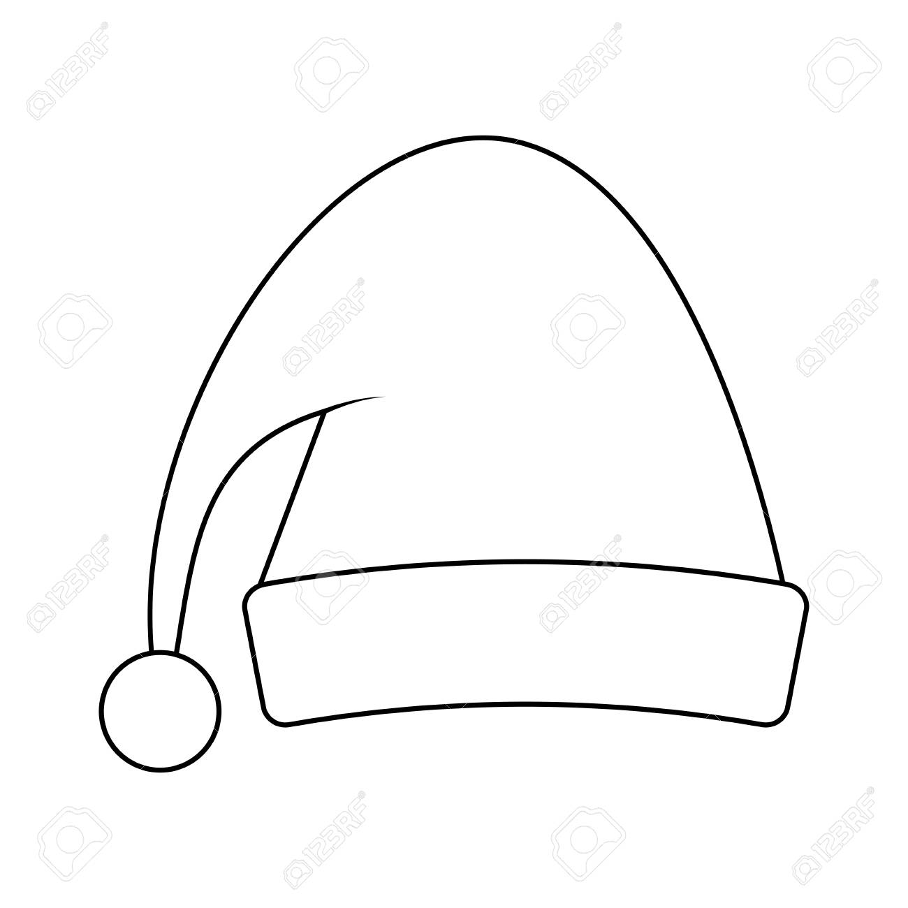 Outline Santa Hat Clipart.