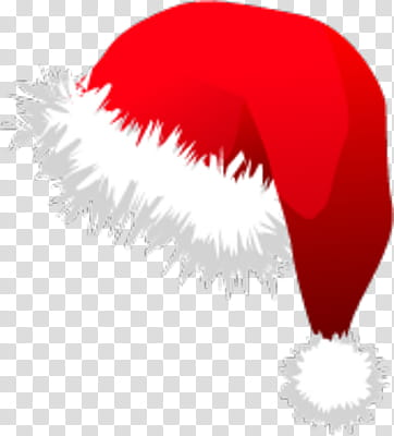 Red and white Santa hat transparent background PNG clipart.
