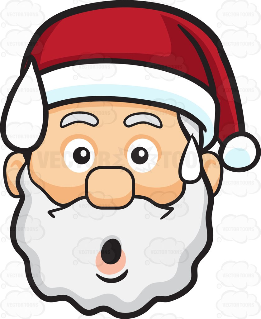 A Sweating Face Of Santa Claus Cartoon Clipart.