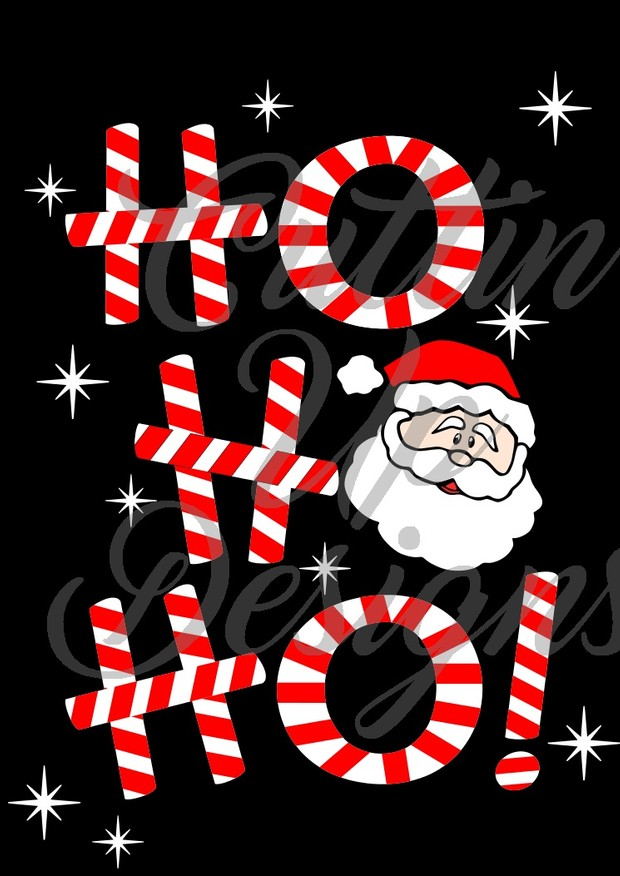 Ho Ho Ho Candy Cane Santa Claus Christmas SVG Cut File for Cricut or Cameo.  Super cute and easy.