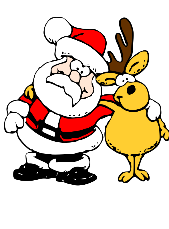 Free Clipart: Santa and Reindeer.