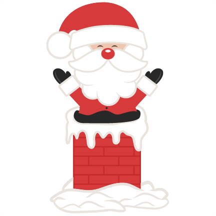Santa In Chimney SVG scrapbook cut file cute clipart files.