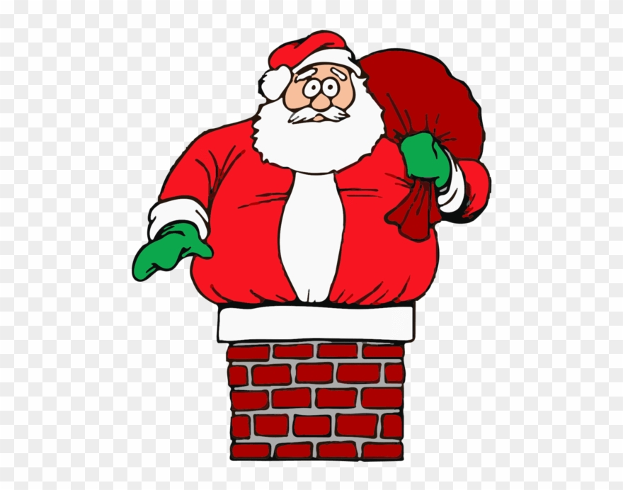 Father Christmas Stuck In Chimney Clipart (#3334867.