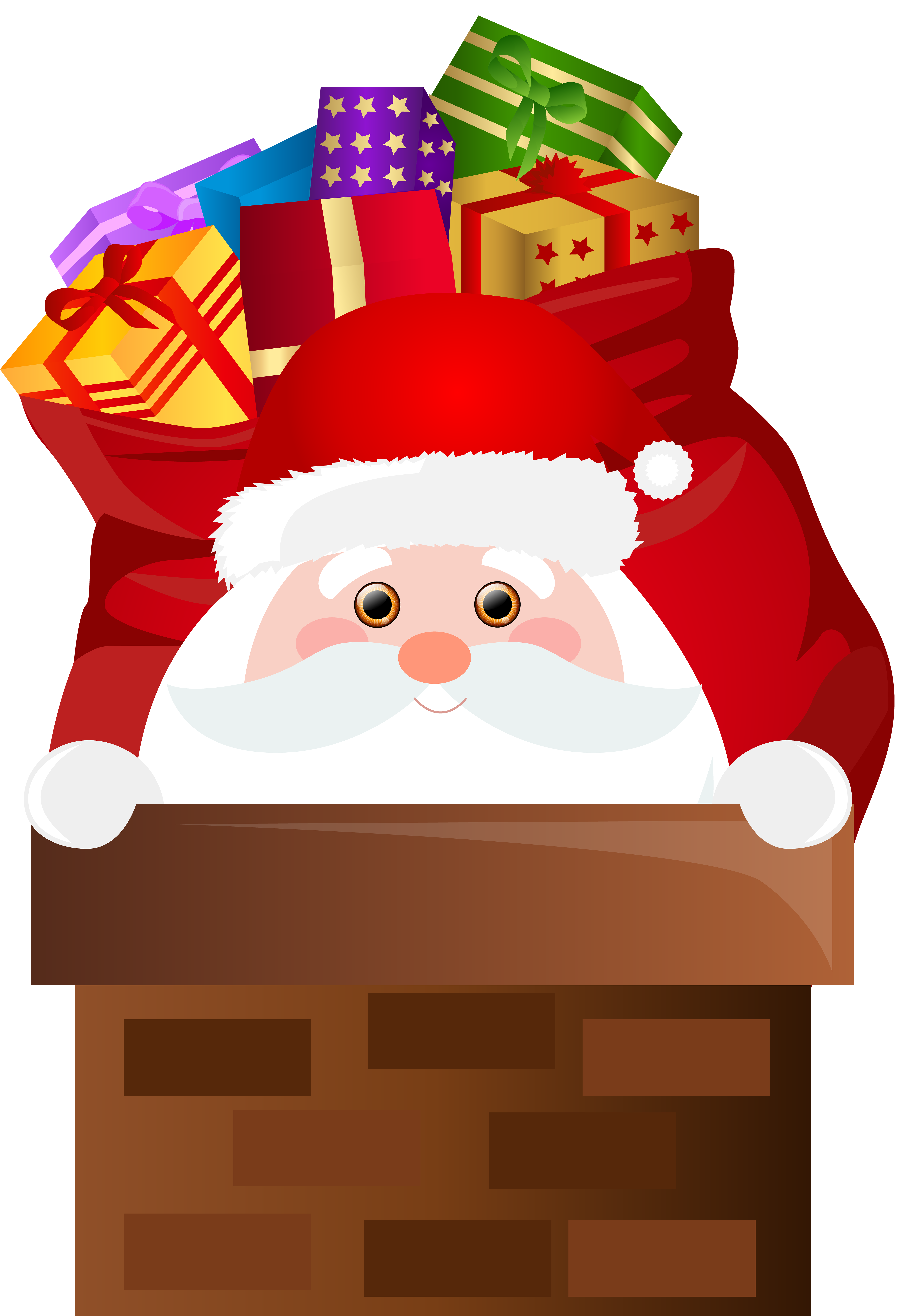 Santa Claus Chimney Transparent PNG Clip Art.