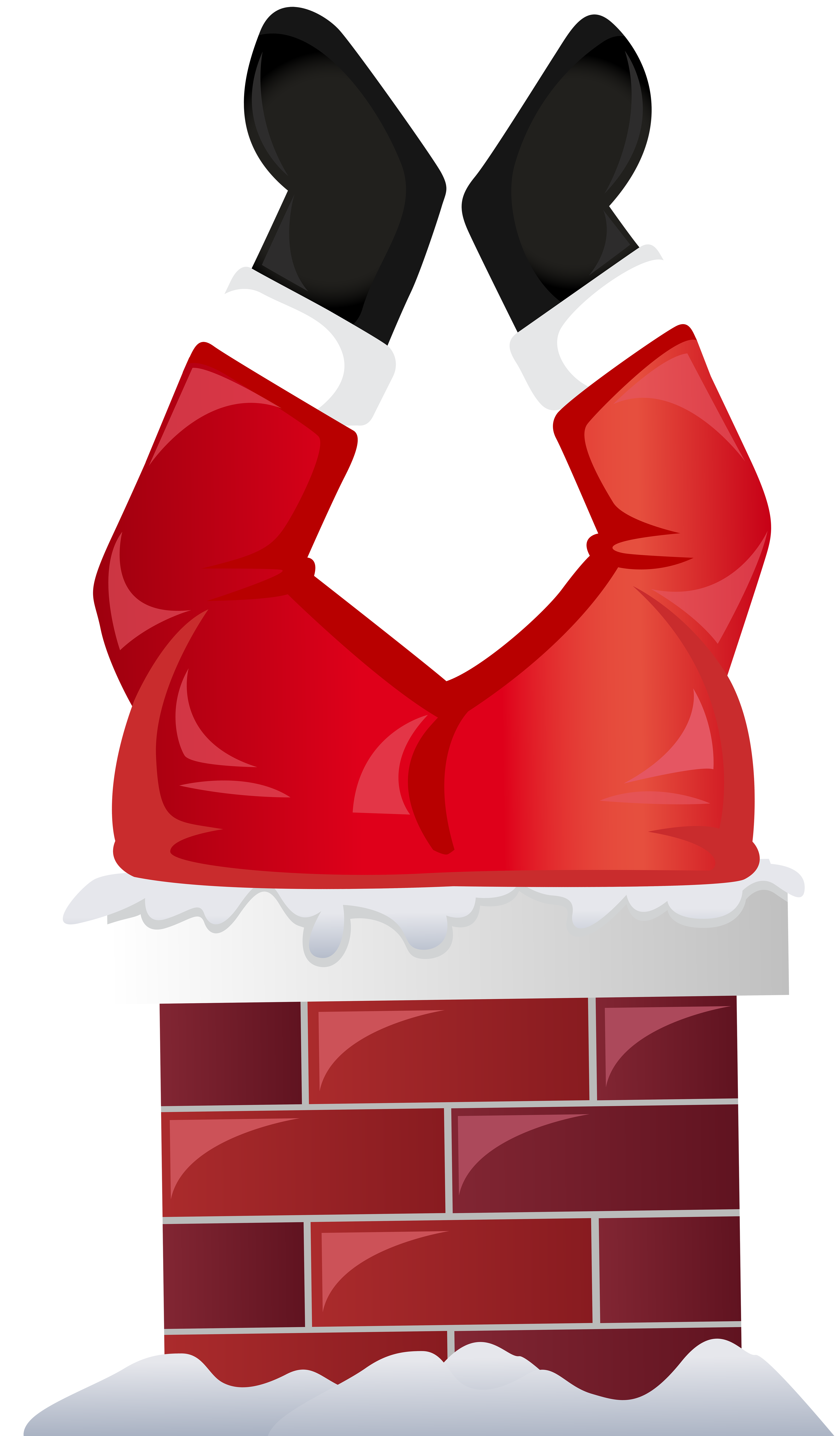 Funny Santa in Chimney Transparent PNG Clip Art.