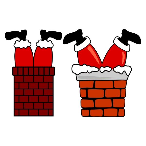 Santa Claus Stuck In The Chimney SVG Cuttable Design.