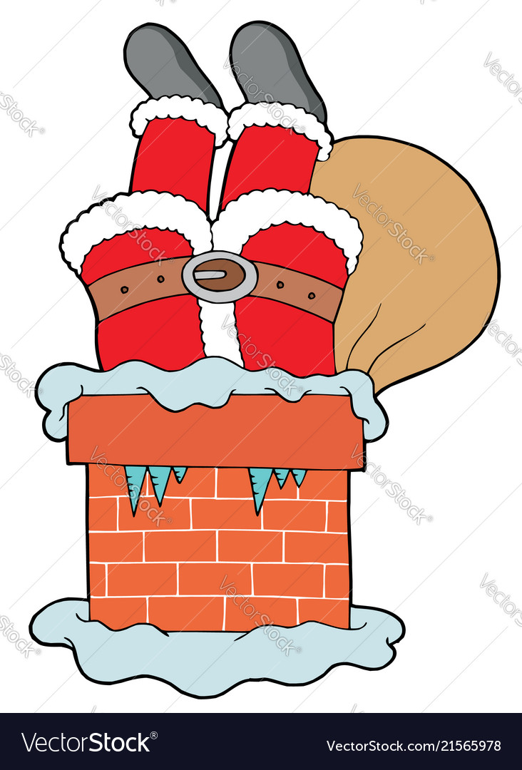 Santa clauses legs with chimney.