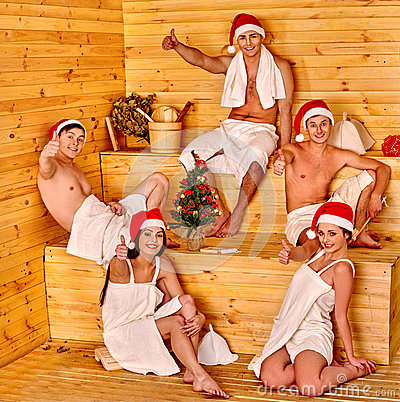 Group People Santa Hat Sauna Stock Photos, Images, & Pictures.