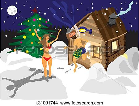 Clipart of Drawing a man and a woman running away from the sauna.