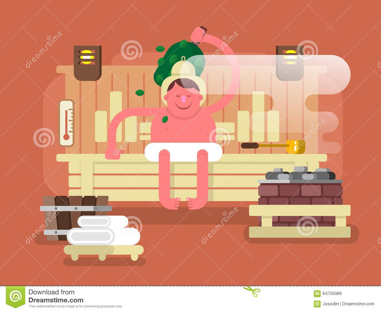 Man In The Sauna Steam Stock Vector.