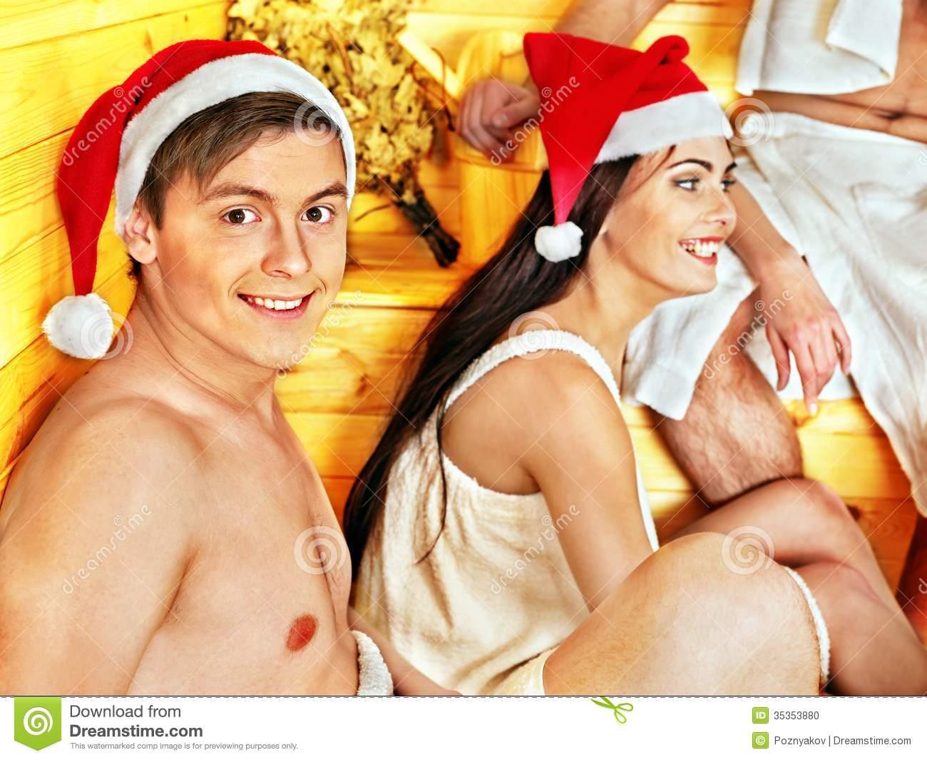 Santa In A Sauna Clipart.