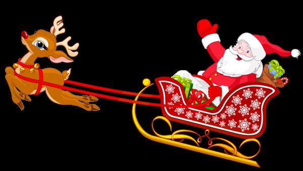 Santa Sleigh Flying Clipart.