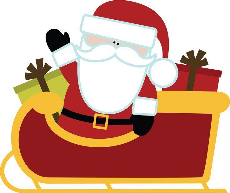 CHRISTMAS SANTA AND SLEIGH CLIP ART.