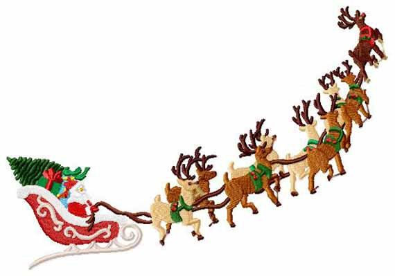Santa\'s Sleigh and Reindeer Christmas Machine Embroidery 2.