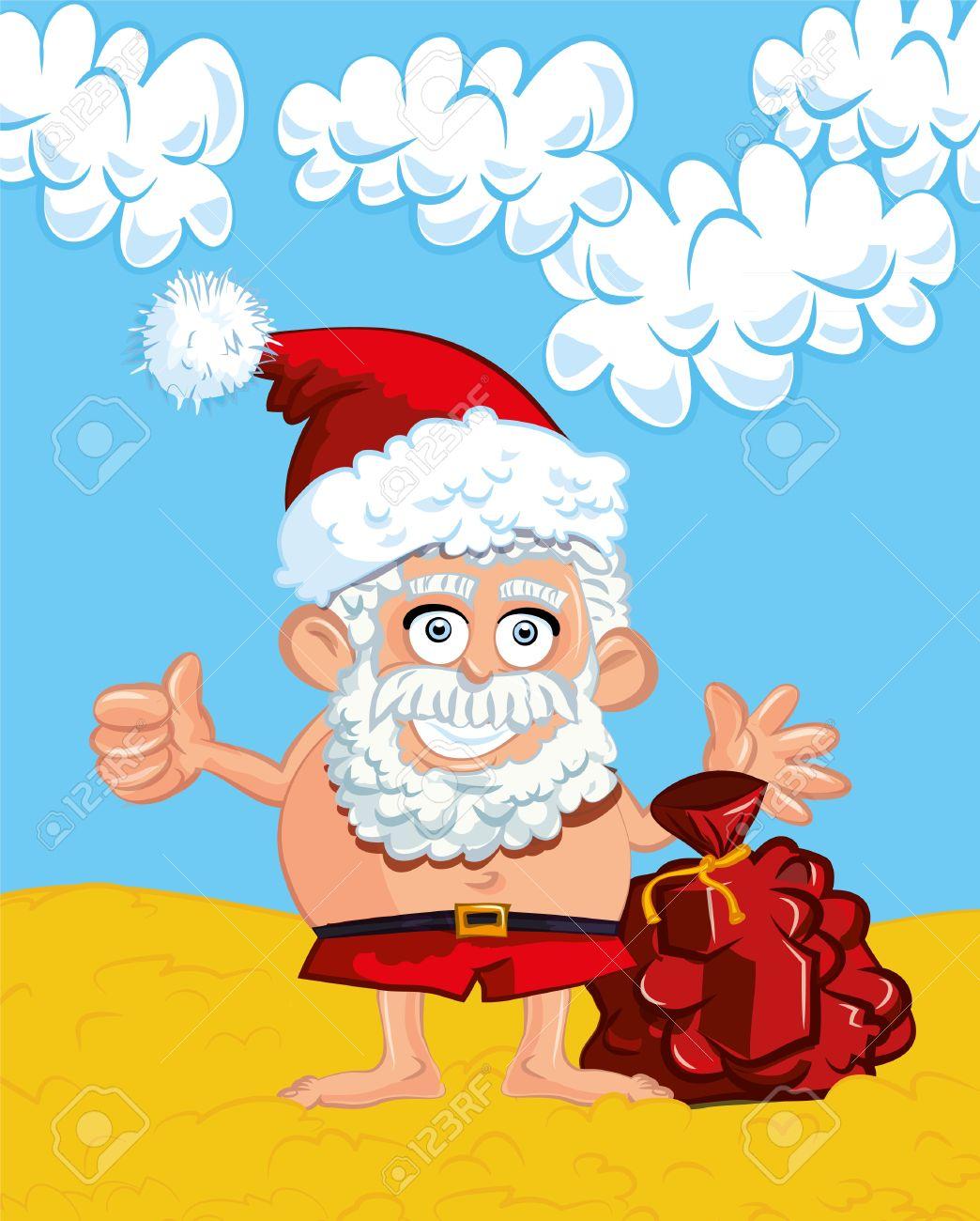Santa In Swim Trunks Clipart.
