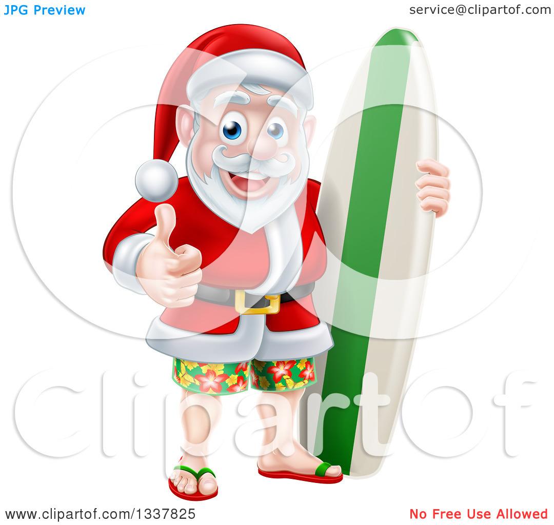 Santa In Swim Trunks Clipart Black And White.
