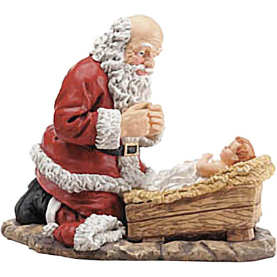 Santa kneeling at the manger of baby Jesus drawing art.