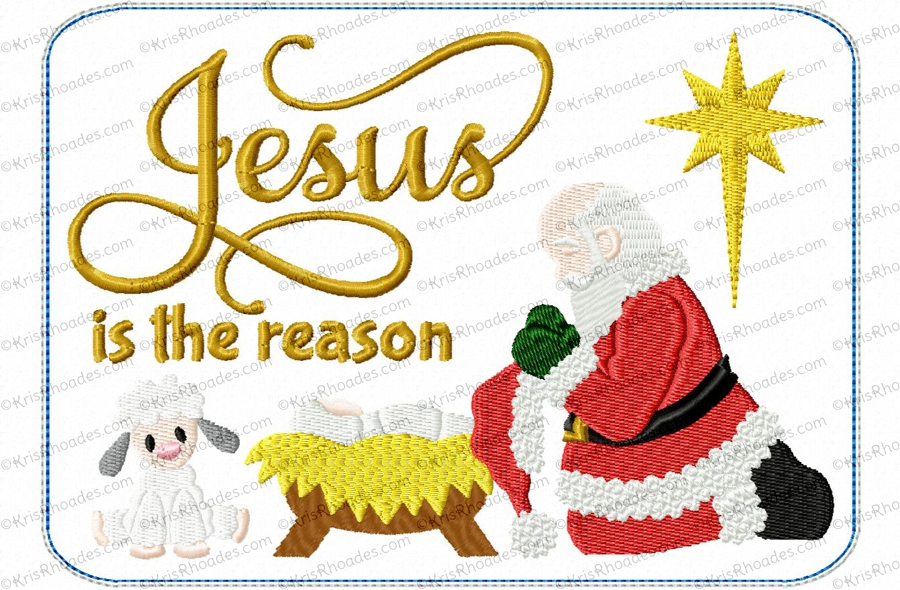 Santa Kneeling at Manger Mug Rug Embroidery Design.