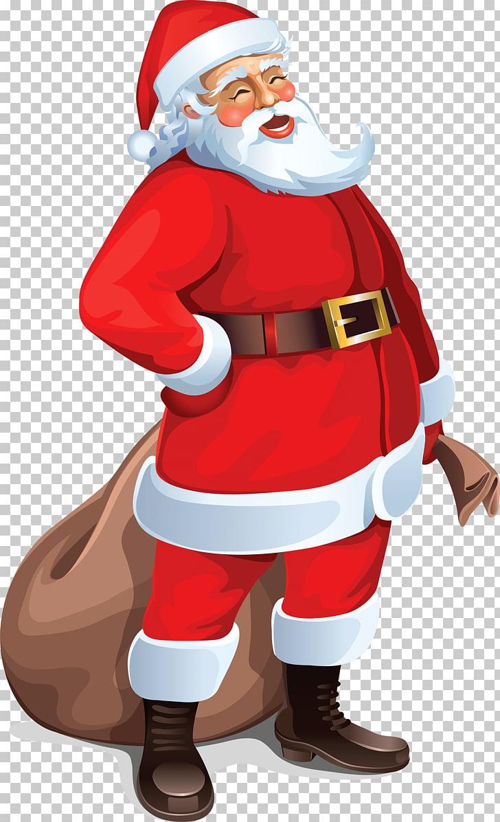 Santa Claus Brown Bag, Santa laughing illustration PNG.