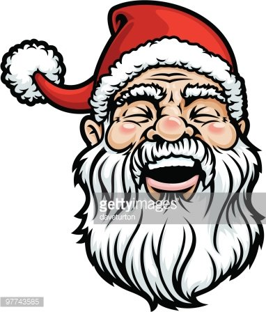 Santa Head Laughing Clipart Image.