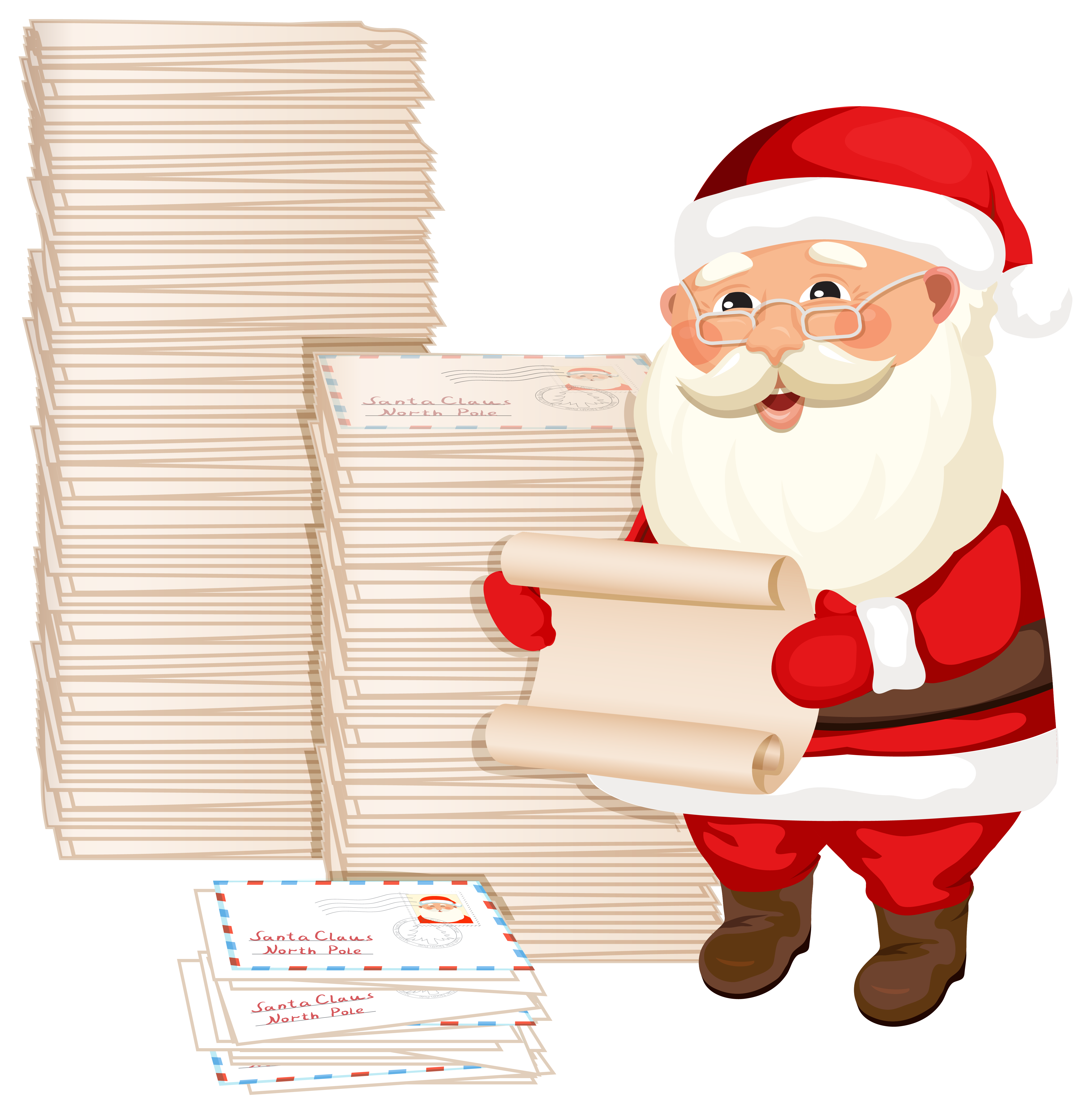 Santa Claus with Letters PNG Clipart Image.