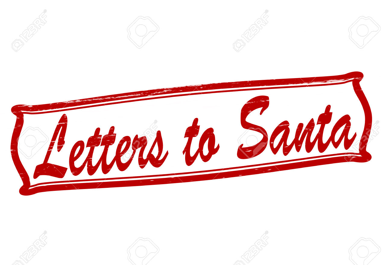 Stamp With Text Letters To Santa Inside, Vector Illustration.