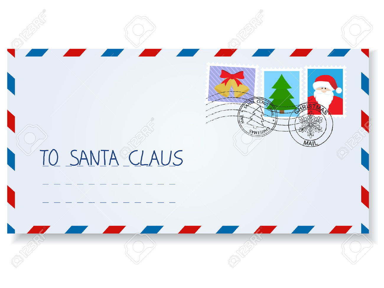 Letter To Santa Claus With Stamps And Postage Marks Royalty Free.
