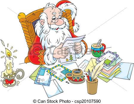 EPS Vectors of Santa Claus reads letters.