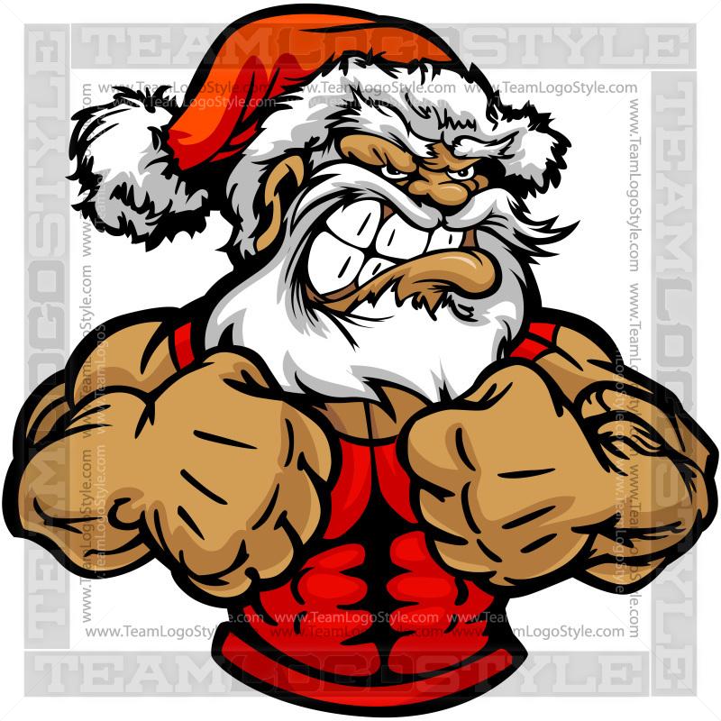 Strong Santa Claus Clip Art.