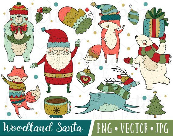 Cute Hand Drawn Santa Clipart Images, Woodland Santa.