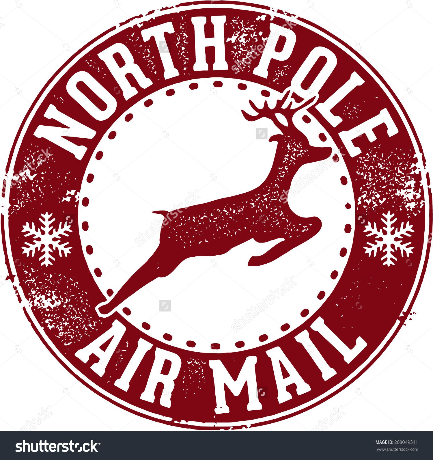 North Pole Air Mail Christmas Santa Stamp Stock Vector.