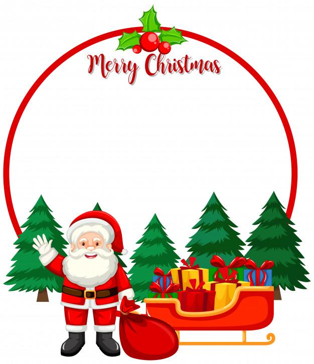 Merry christmas card with santa Vector.